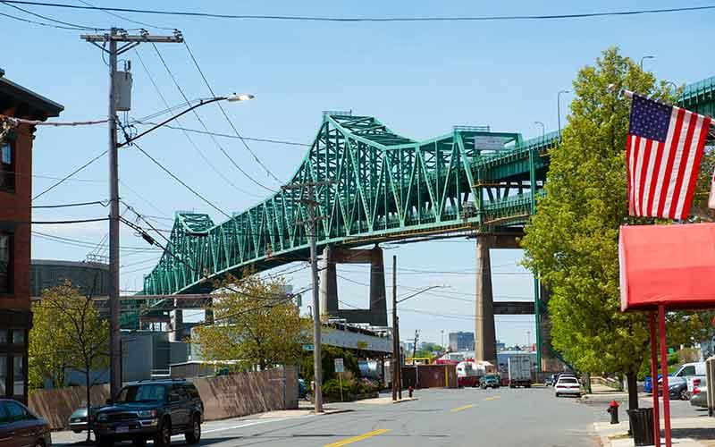 The Tobin bridge runs through Chelsea, an environmental justice community